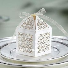 free logo laser cut card white wedding party favours various colors of gift box