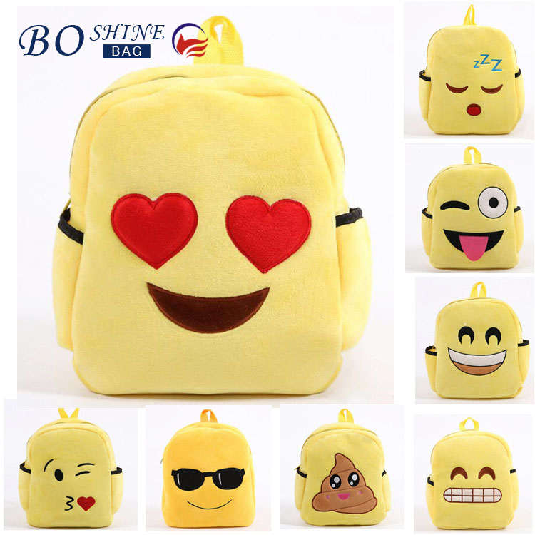 Soft plush Emoji Backpack Kindergarten School Bag for Kids