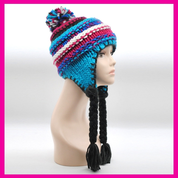 Hot High Quality Girls Wholesale woman handmade chunky knit beanie with bobble