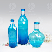 Combination suits handblown blue glass vase with white sea star decoration