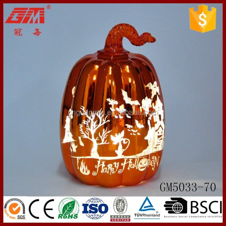 Engraving ghost lighted glass pumpkin decoration
