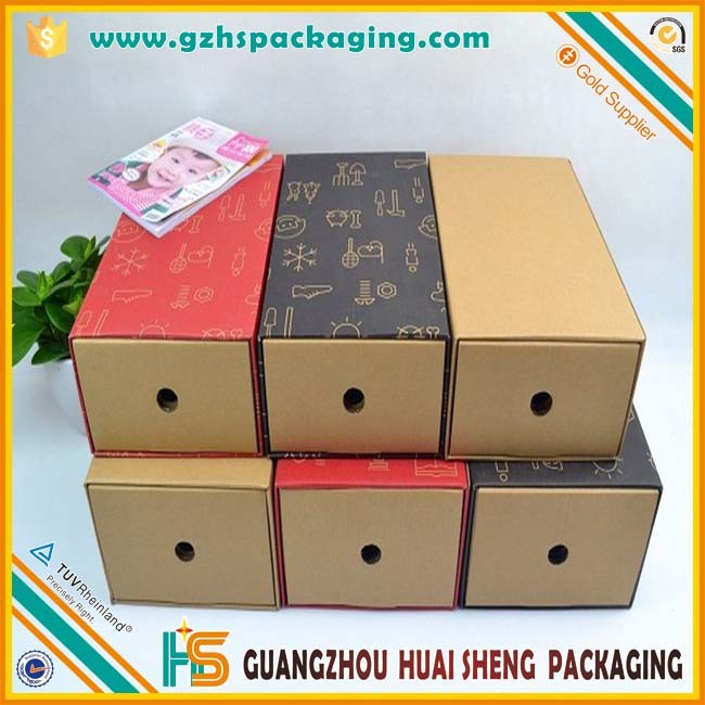 100% Eco-Friendly Recycle Brown Kraft Paper Shoe Box With Die Cut Window