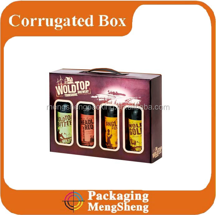 Company brand and logo print Factory products corrugated packaging use custom made cardboard beverage bottle box