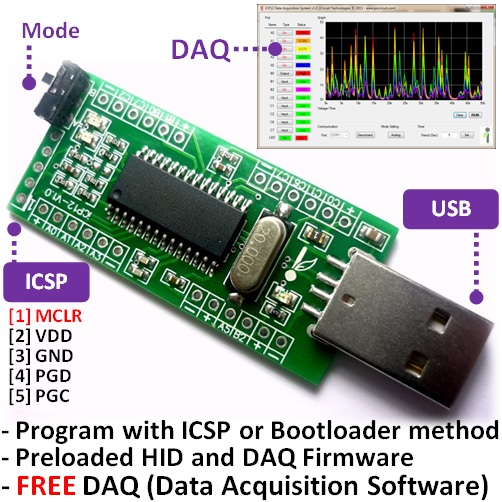 iCP12 usbStick - PIC18F2550 Board for USB DAQ, PWM, PC Oscilloscope, Data Logger with 6x Analogs (10 bits) + 7x Digitals IO