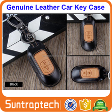 Smart Keyless Remote Car Key Mixed Color Genuine Leather Case with Keychain for Mazda ATENZA CX-4 CX-5 CKL12