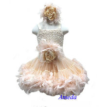 Champagne Ivory Rose Pettiskirt Wedding Party Flower Girl Feather PettiDress Matching Sash and Headband 1-7Y