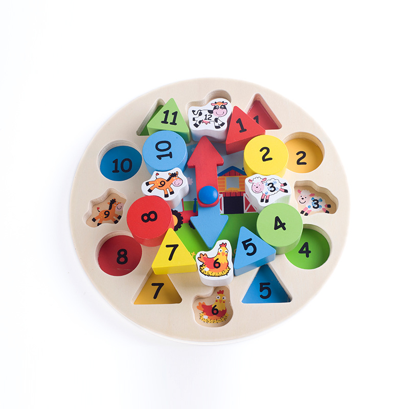 Preschool Children Educational Toy Wooden Clock for Kids