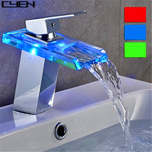 Single Hole LED Light Glass Bathroom Waterfall Sink Faucets Basin Tap Brass Fitting