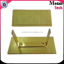 Wholesale good quality low price die casting gold plated deboss logo aluminum nameplate
