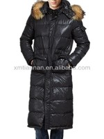 2013 Top Sale Quality Fur-Hooded Long Down Coat Men Black for Winter