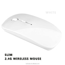 White Simple Ultra-Thin 2.4G USB Wireless Optical Mouse for PC Laptop
