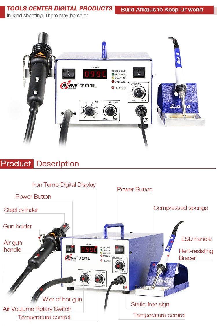 Top quality new brand Daina DN-701L SMD Temperature control digital 2 in 1 BGA rework station