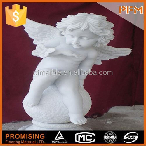 2015 In stock natural well polished white marble stone made hand carved garden stone baby figure statue