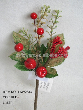 wholesale high end artificial small pine needle holly leaf and diy foam red berry pick 8 5. Black Bedroom Furniture Sets. Home Design Ideas