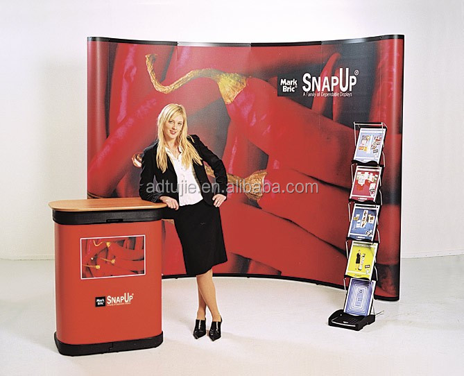 trade show booth exhibit display curved folding pop up banner stand 3X3