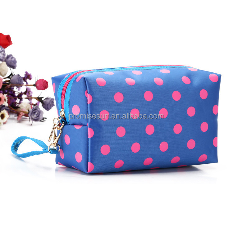 Polka dot polyester handbag travel toiletry promotional custom fashion small makeup bag cosmetic pouch