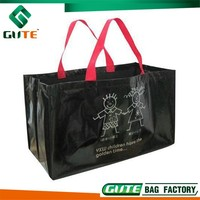 2015 Best Selling PP Laminated Bag Black NON WOVEN Shopping Bag waterproof big tote bag