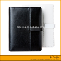 Plain design pu leather cheap office multifunction loose leaf diary usb