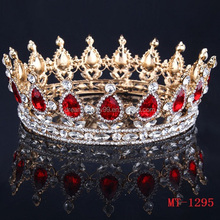 18K gold red drill small transparent diamond tiara crown bride