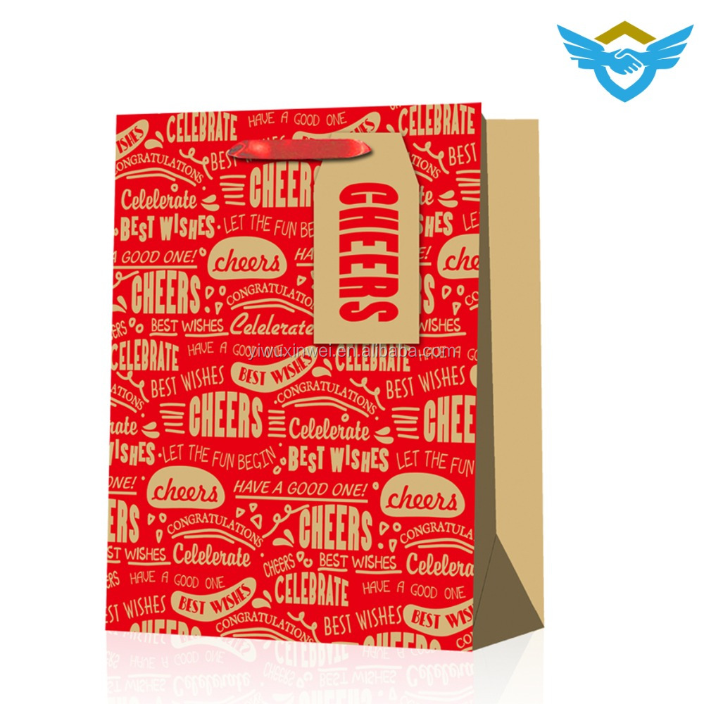 2018 hot sale cheap paper bags with handles and hangtag
