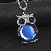 High Quality Fashion Charms Rhinestone Cute Gem Diamond Crystal Big Owl Necklaces And Pendants Sweater Chain Jewelry