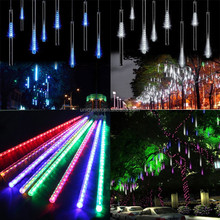 Newest 8 Tubes 50cm DIP Christmas Fall Star LED Meteor Festival Daytime Running Fairy Light For Tree Decorative Arvore de Natal