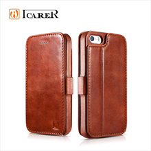 ICARER Genuine Leather Wallet Case for Apple for iPhone SE, Mobile Phone Protective Flip Cover for iPhone 5/5s