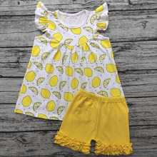 Wholesale children's boutique clothing new summer high quality cotton ruffle outfit