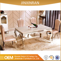 2016 high quality 201 stainless steel modern marble dining table designs