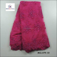 Pink Handwork Beaded 3D lace embroidery flowers tulle lace