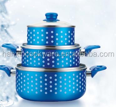 sea blue balik ceramic coating non-stick casserole pot with silk painting