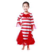 Wholesale girls top dress Christmas red white stripe chiffon bottom cotton dress baby toddler clothing