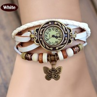 Classic hot selling vintage genuine leather watch for kids