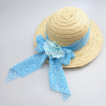 Ladies paper raffia braid sun hat with polka dots printed band and bow