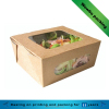 Foldable kraft paper fruit salad packaging box with window