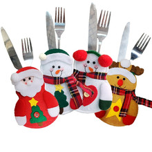 Christmas Decor Cute Snowman Table Dinning Holder Pocket Cutlery Bag Party Decorations