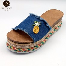 2017 New Arrive Flat Platform Jute Sole Denim Women Slipper Sandal