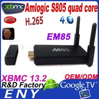 2014 New XBMC 13.2 H.265 Bluetooth 4.0 EM85 amlogic s805 M85 quad core android tv dongle for skyworth