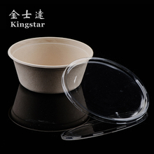 Well Designed disposable plastic jar seal lid for 24oz sugarcane bowl