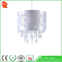 chandelier holiday linen fabric laser colored crystal beads pendant light shade