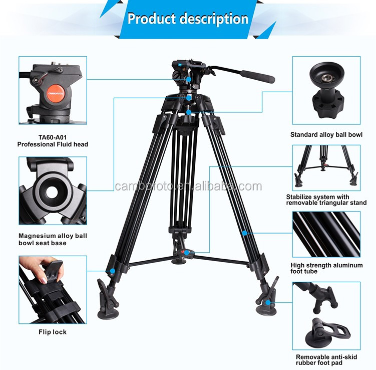 Heavy duty video camera tripod stand,professional indoor tripod,best price tripod stand