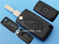 Remote flip key blank Peugeot 2 buttons cover with 406 blade