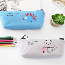 Student stationery cartoon cute simple animal pen bag canvas pencil case