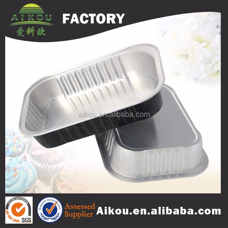Disposable microwavable aluminum foil frozen food box packaging with clear cover