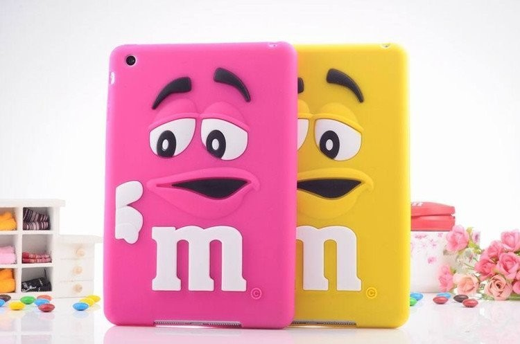 3D Cute cartoon Silicone Kids M&M Chocolate jelly Bean Cover Case for ipad 2/3/4,200pcs/lot