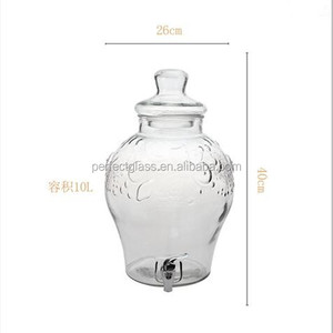 10L Clear Glass Beverage Dispenser mason Jar