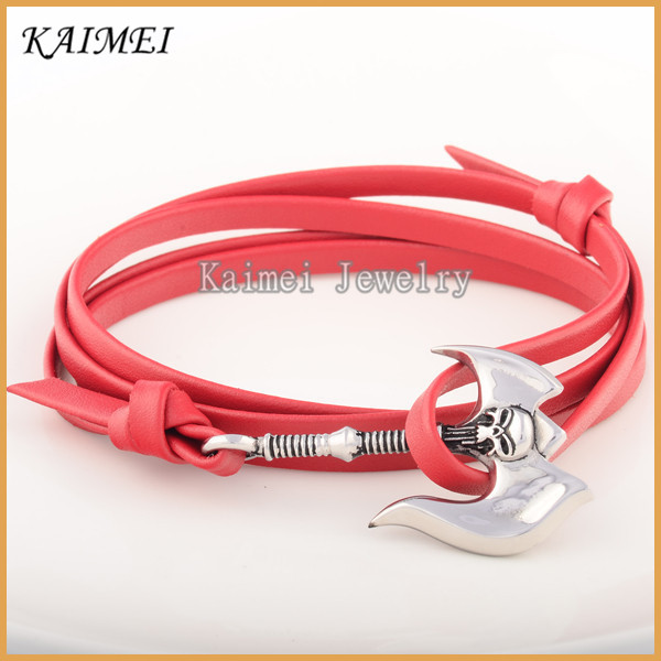 New Arrival Wholesale Stainless Steel Fashion Accessories Brown Leather Skull Bracelet Male