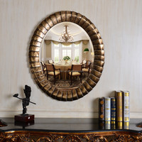 PU604 Antique Gold Oval Glass Wall Mirror