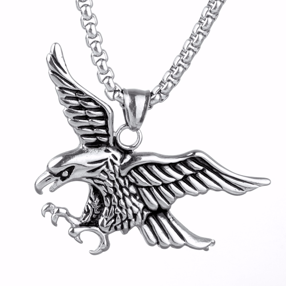 SJPC0032 Men Jewelry Supplier Vintage Stainless Steel Punk Style Ambitious Flying Eagle with Large Wings Pendant Necklace