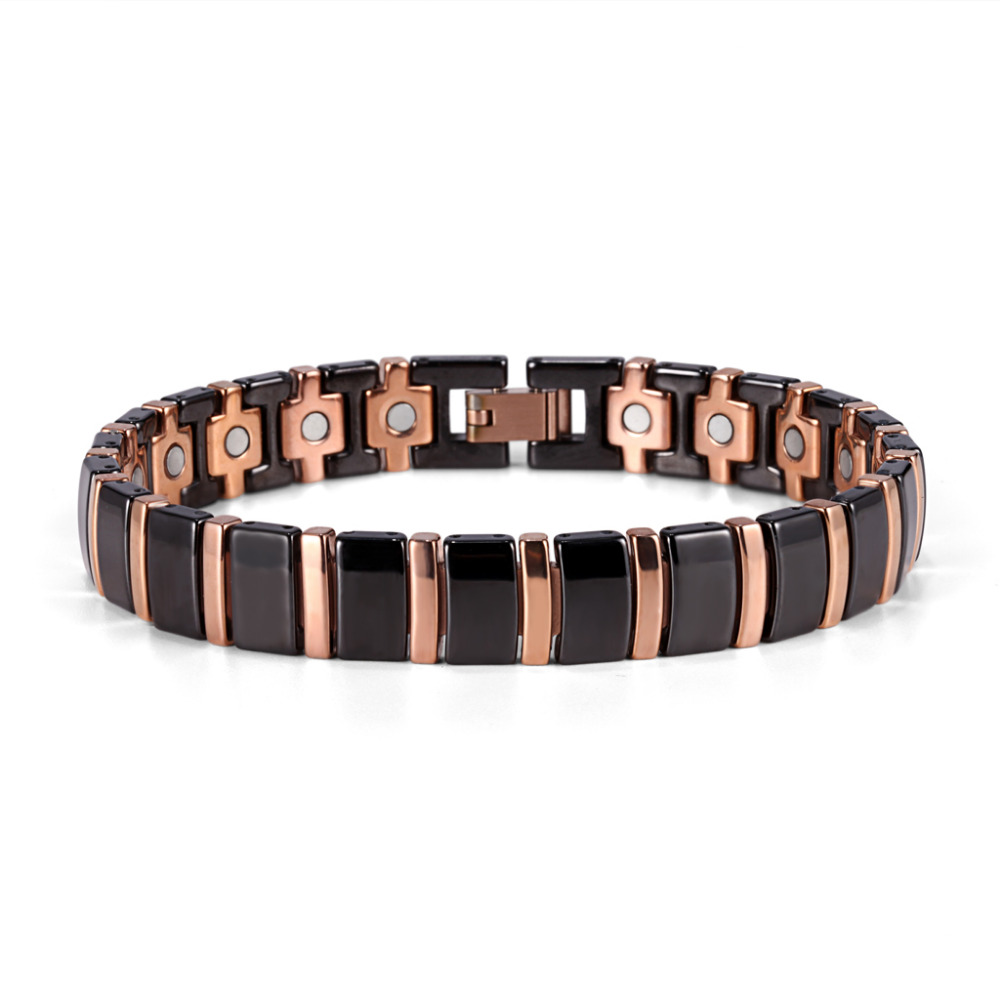 Adjustable 8.5inch black rose gold bio germanium ceramics magnetic bracelet